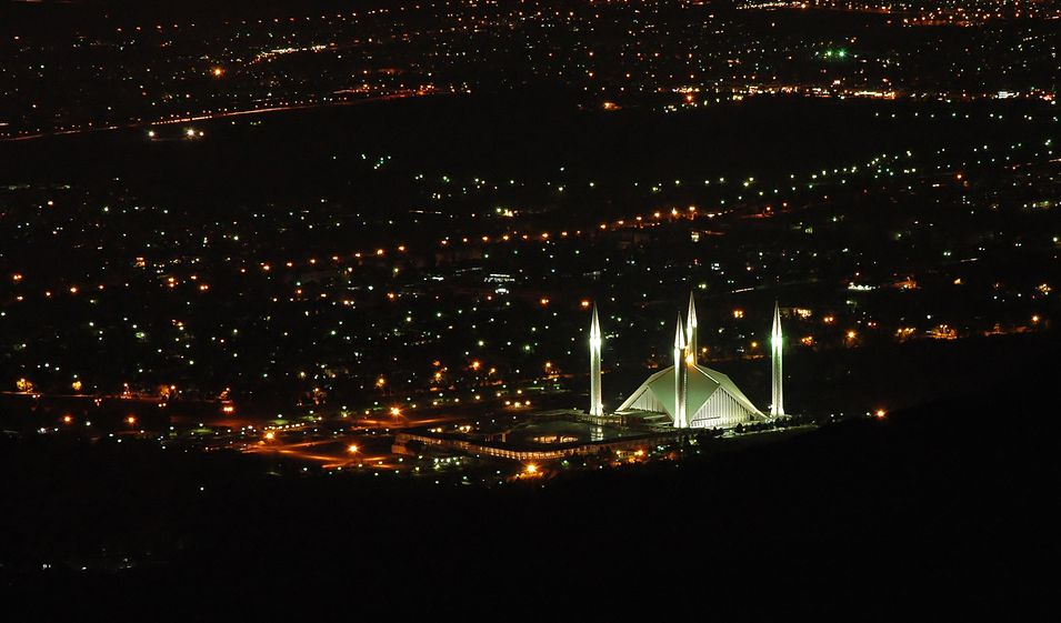faisal mosque night ariel view