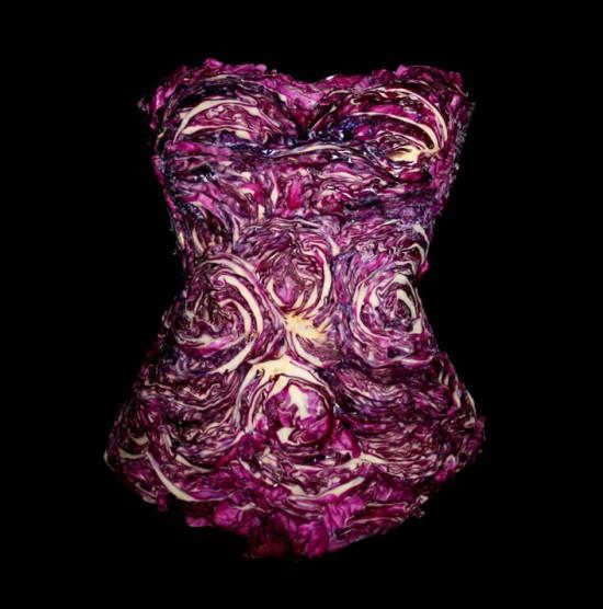 Dress made of food red cabbage