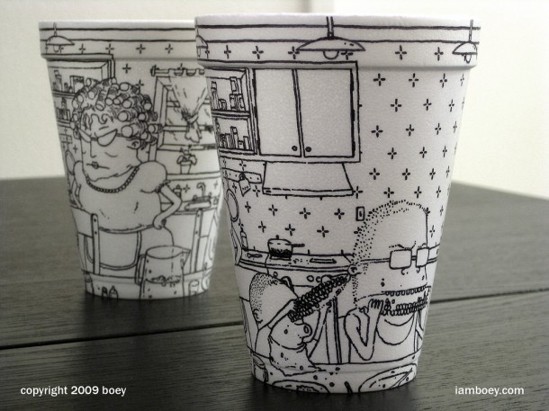 coffee cup art by cheeming boey