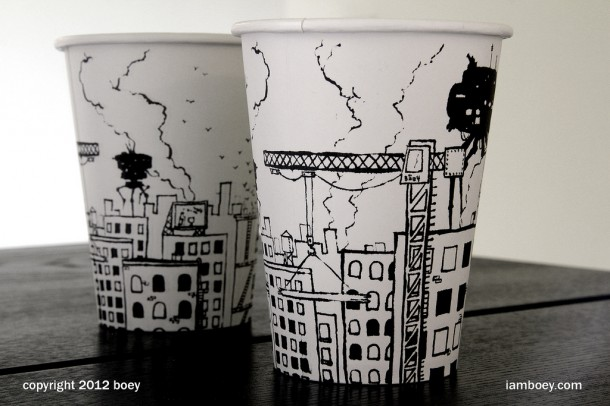 creative art on paper cups