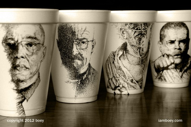 sketches on coffee cups