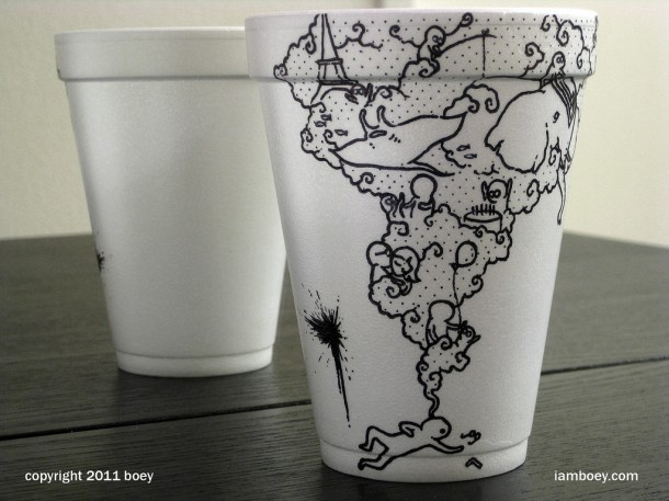 sketches on paper coffee cup