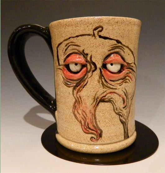 illustrated Sculpted coffee mugs