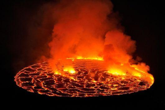Lava Lake Nyiragongo Volcano