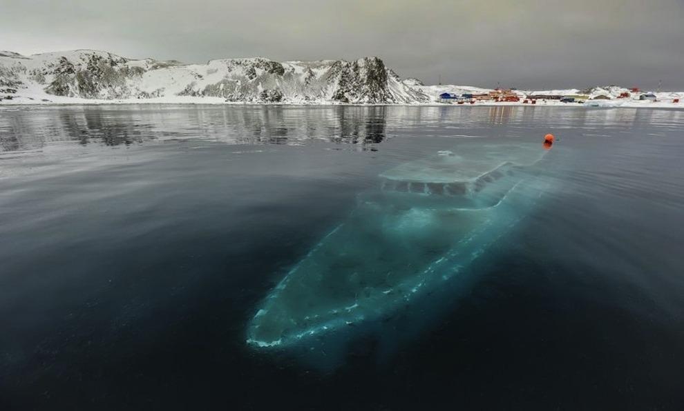 Sunken yacht Antarctica